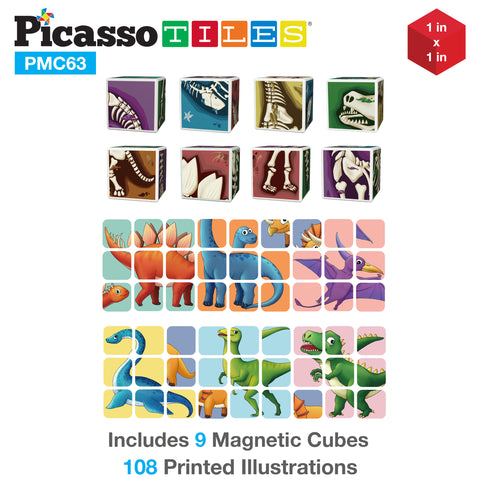 Image of PicassoTiles 63 Piece Dinosaur Magnetic Puzzle Cube Sensory Toy Kit PMC63
