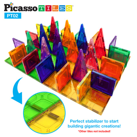Image of PicassoTiles® PT02 2 Piece Set Magnet Tiles Large Stabilizer Base Jumbo XL Plate