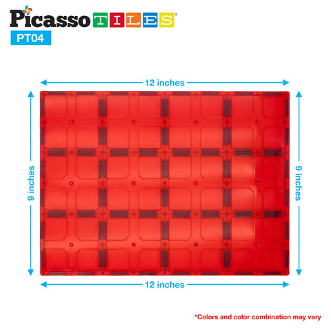 PicassoTiles® PT04 4 Piece Set Magnet Tiles Large Stabilizer Base Jumbo