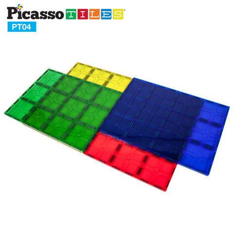 Image of PicassoTiles® PT04 4 Piece Set Magnet Tiles Large Stabilizer Base Jumbo