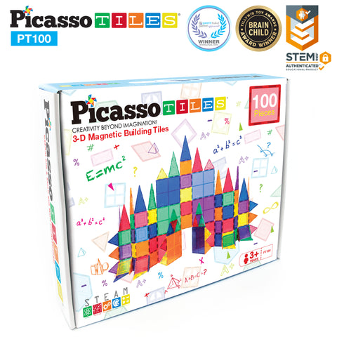 PicassoTiles® 100 Piece Set Magnet Building Tiles