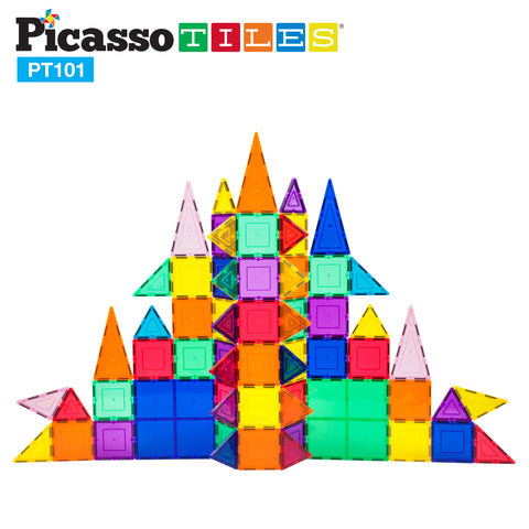 Image of PicassoTiles 101 Piece Magnetic Building Block Set Magnet Tile Construction Toy PT101