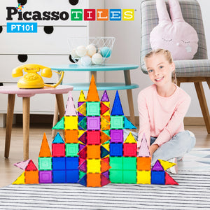PicassoTiles 101 Piece Magnetic Building Block Set Magnet Tile Construction Toy