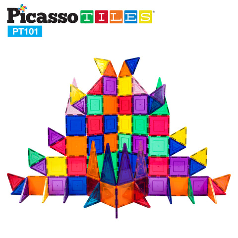 Image of PicassoTiles 101 Piece Magnetic Building Block Set Magnet Tile Construction Toy