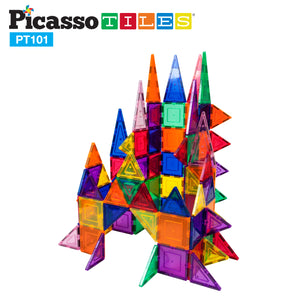 PicassoTiles 101 Piece Magnetic Building Block Set Magnet Tile Construction Toy PT101