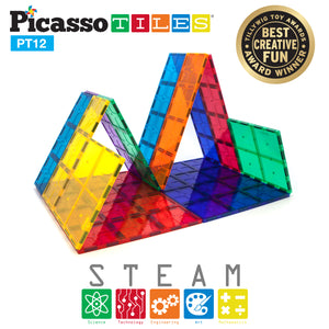PicassoTiles® PT12 Piece Set Magnet Tiles