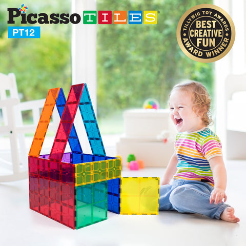 Image of PicassoTiles® PT12 Piece Set Magnet Tiles
