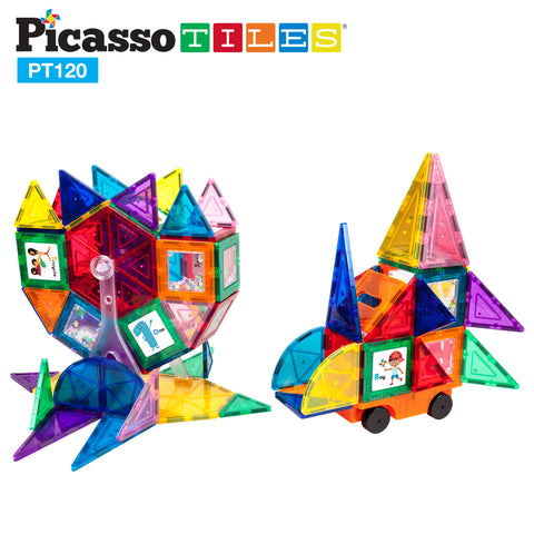 Image of PicassoTiles 120 Piece Magnetic Building Block Set PT120