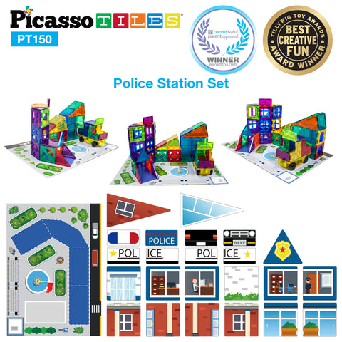 PicassoTiles® 150pc School, Hospital, and Police Station Theme Set PT150