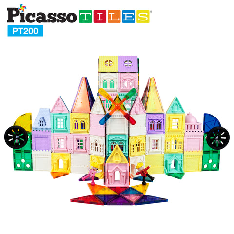 Image of PicassoTiles 200 Piece Castle Click-In Set with 2 Figures, Car, and Windmill