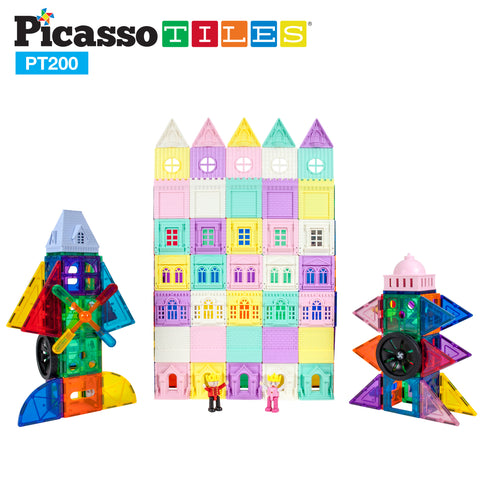 Image of PicassoTiles 200 Piece Castle Click-In Set with 2 Figures, Car, and Windmill PT200