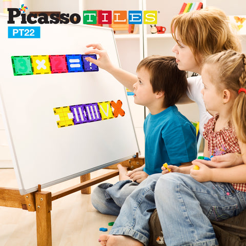 PicassoTiles® PT22 Piece Numerical Set Magnetic Tiles Building Blocks