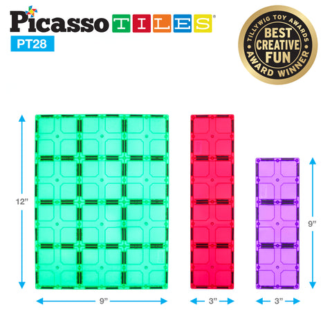 Image of PicassoTiles® PT28 Piece Set Magnet Tiles