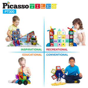 PicassoTiles 300 Piece Master Builder Magnetic Building Block Set