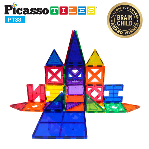 PicassoTiles® 33 Piece Educational Set Magnet Building Tiles 9 Different Shapes