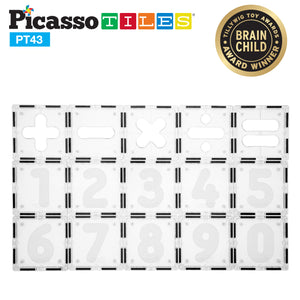 PicassoTiles® 43 Piece Clear Color Alphabet and number Learning Set PT43