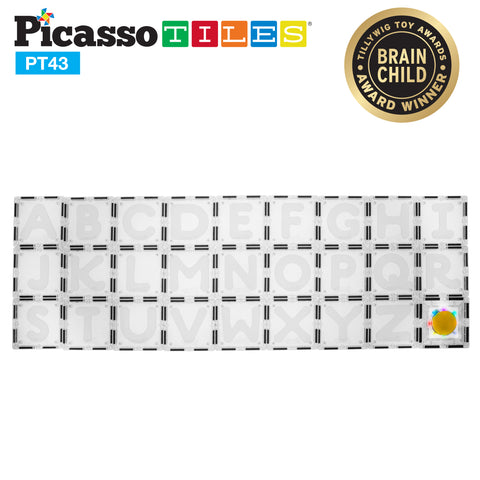 Image of PicassoTiles® 43 Piece Clear Color Alphabet and number Learning Set PT43
