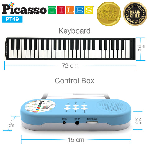 PicassoTiles® PT49 Kid's 49-Key Flexible Roll-Up Educational Piano Keyboard