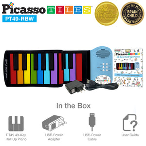 PicassoTiles® PT49 Kid's 49 Colorful Key Roll-Up Educational Keyboard