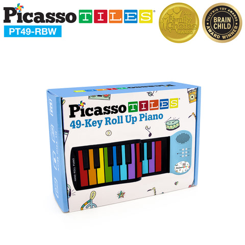 Image of PicassoTiles® PT49 Kid's 49 Colorful Key Roll-Up Educational Keyboard