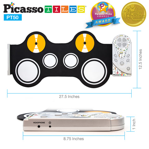 Image of PicassoTiles® PT50 Flexible Roll-Up Educational Electronic Drum Kit