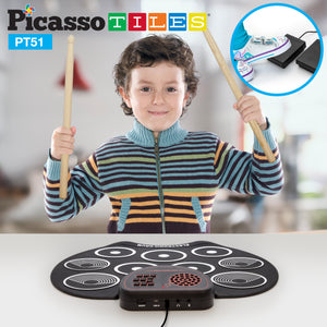PicassoTiles® PT51 Flexible Roll-Up Educational Electronic Drum Kit