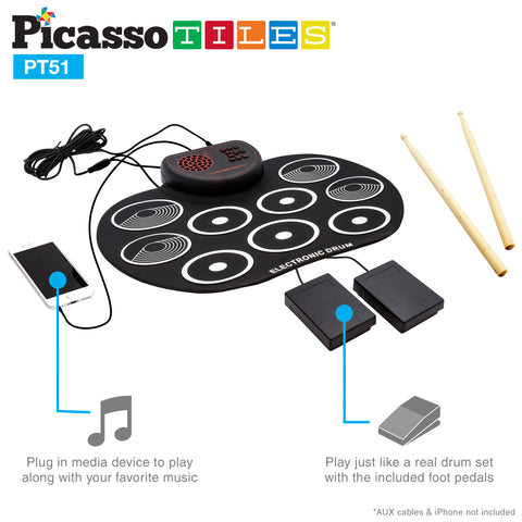 Image of PicassoTiles® PT51 Flexible Roll-Up Educational Electronic Drum Kit