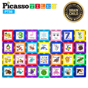 PicassoTiles® 56 Piece Set with 28pc Artwork Graphics PT56