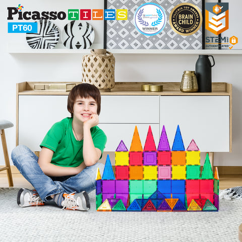 Image of PicassoTiles 60 Piece Set Magnet Building Tiles