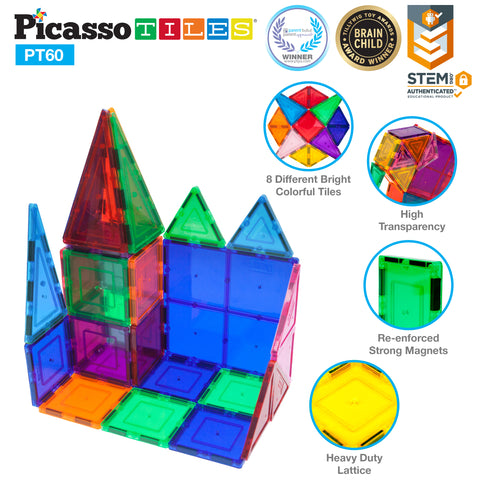 PicassoTiles 60 Piece Set Magnet Building Tiles