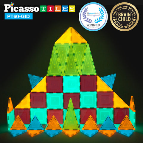 Image of PicassoTiles 60 Piece Glow in the Dark Set