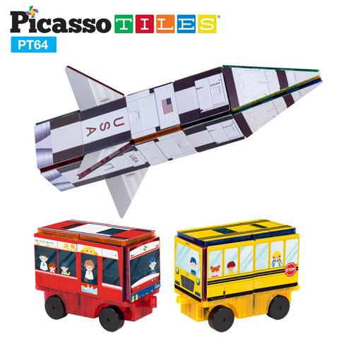 Image of PicassoTiles 64pc Rocket, Train and School Bus Theme Set