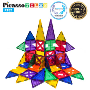 PicassoTiles® 82 Piece Creativity Set Magnet Building Tiles 10 Different Shapes