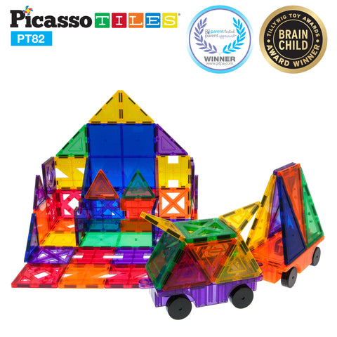 Image of PicassoTiles® 82 Piece Creativity Set Magnet Building Tiles 10 Different Shapes