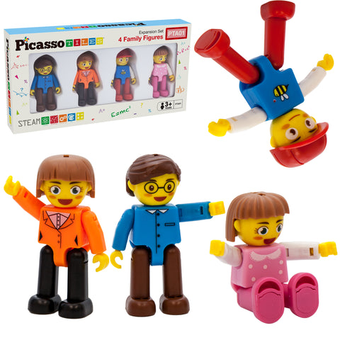 PicassoTiles® 4 Piece Family Character People Figure Set PTA01