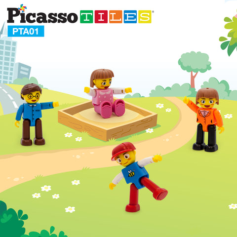 Image of PicassoTiles® 4 Piece Family Character People Figure Set PTA01
