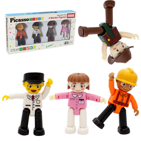 Image of PicassoTiles® 4 Piece Profession Character Figure Set PTA02