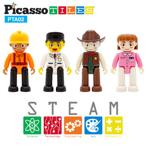 PicassoTiles® 4 Piece Profession Character Figure Set PTA02