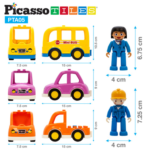Image of PicassoTiles® People Character Figure Set 3 Cars PTA05