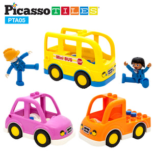 PicassoTiles® People Character Figure Set 3 Cars PTA05