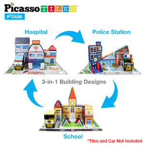 PicassoTiles® 80pc School, Hospital, and Police Station Theme Set PTA06