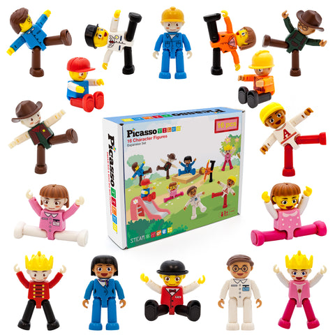 Image of PicassoTiles 16 Piece Character Figure Set