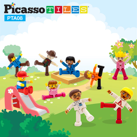 Image of PicassoTiles 16 Piece Character Figure Set PTA08