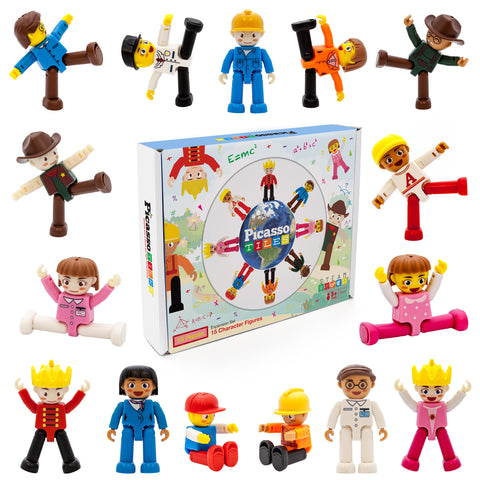 Image of PicassoTiles 15 Piece Character Figure Set PTA15
