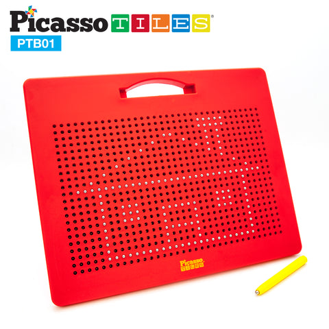 "Image of PicassoTiles® Large 12""x10"" Magnetic Drawing Board w/ 748 Beads PTB01"