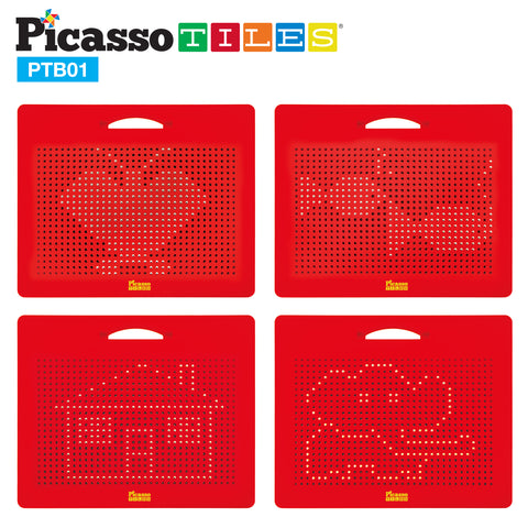 "PicassoTiles® Large 12""x10"" Magnetic Drawing Board w/ 748 Beads PTB01"