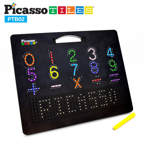 "Image of PicassoTiles Double Sided 12""x10"" Large Magnetic Drawing Board with Letters and Numbers PTB02-BLK"