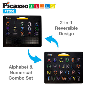 "PicassoTiles Double Sided 12""x10"" Large Magnetic Drawing Board with Letters and Numbers PTB02-BLK"