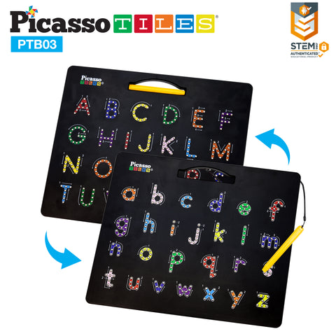 Image of PicassoTiles Double-Sided Magnetic Drawing Board 12x10 Upper Lower Case