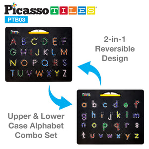 PicassoTiles Double-Sided Magnetic Drawing Board 12x10 Upper Lower Case